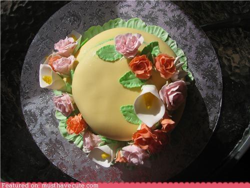cake,epicute,flowers,fondant,lilies,roses,springtime,sunshine,yellow