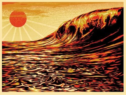 2011 Sendai earthquake,rising sun,Screenprint,shepard fairey