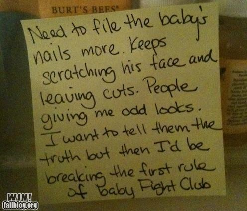 Babies fight club movie reference notes parenting - 4576886272