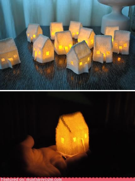 decoration,fabric,felt,glow,house,light,tiny