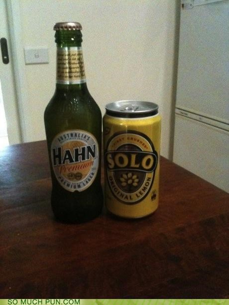 beer carbonite cold frozen hahn Han Solo homophones lemonade solo star wars