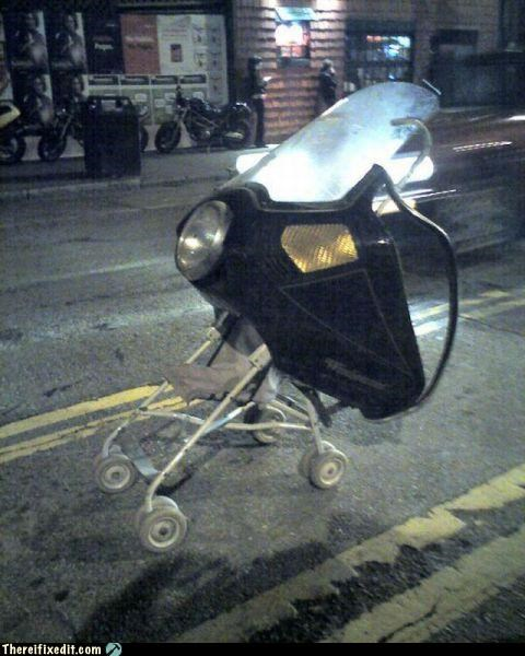 kids,motorcycle,Parenting Fail,stroller,wtf