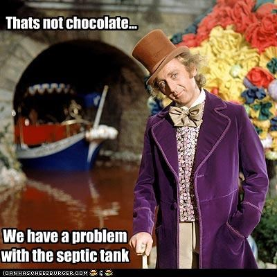 Thats not chocolate... We have a problem with the septic tank