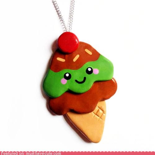 chain ice cream ice cream cone Jewelry necklace pendant - 4579161344