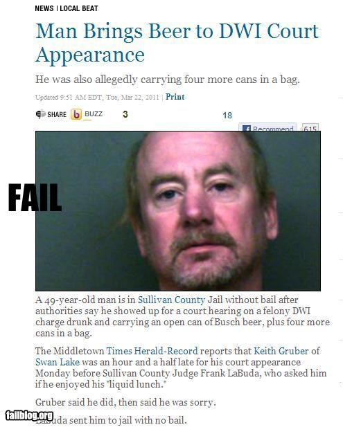 alcohol bad idea beer court drinking driving facepalm failboat Probably bad News really