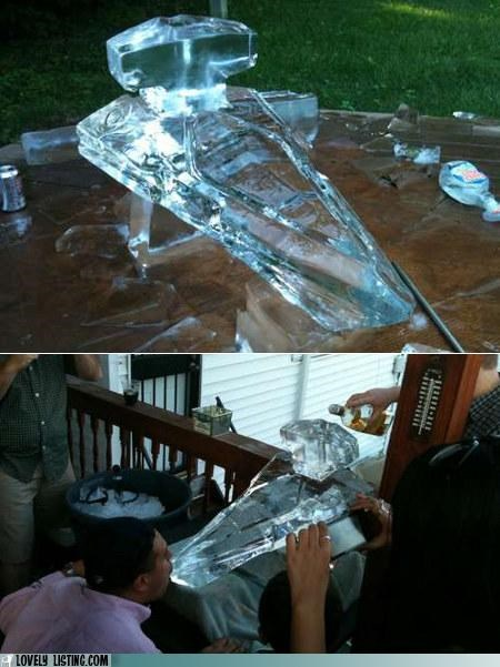 booze cold ice sculpture shots star destroyer star wars
