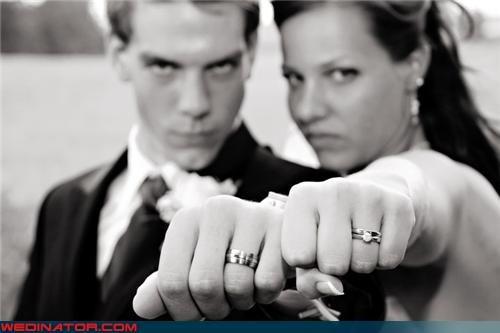 black-white funny wedding photos rings