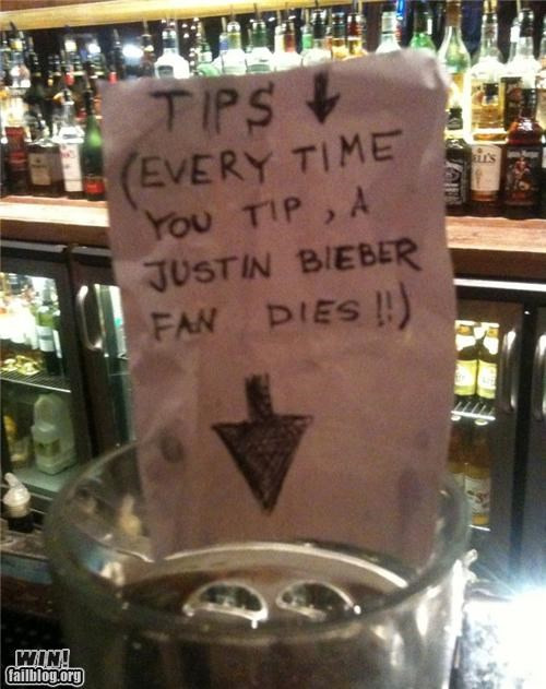 awesome at work forever alone justin bieber package post poll tip jar
