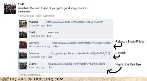 comments,facebook,FRIDAY,friends,nsync,rickroll,Songs