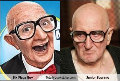 bald,junior soprano,mascot,old man,six flags,Six Flags Guy,the sopranos