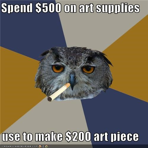 Art Student Owl,art supplies,retail value of art