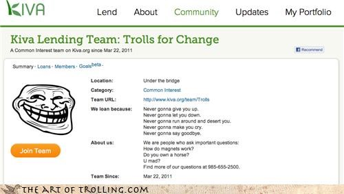Causes,change,Japan,kiva,trolls,under the bridge