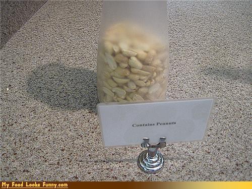 information label obvious peanuts sign