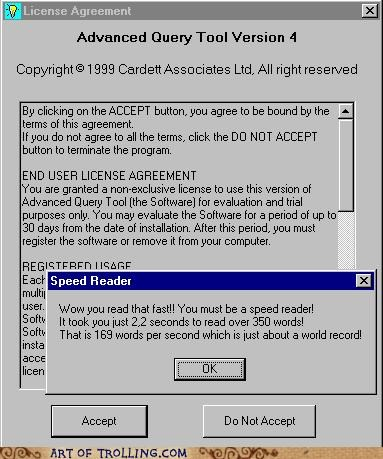 accept,speed reader,user agreement