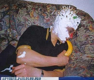 banana,cigarette,couch,drunk-whip-cream,passed out,weird