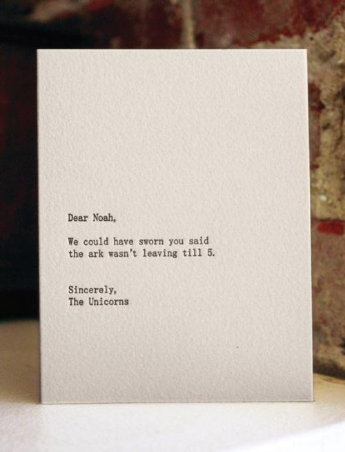 Dear Blank,Letterpress Cards,Please Blank