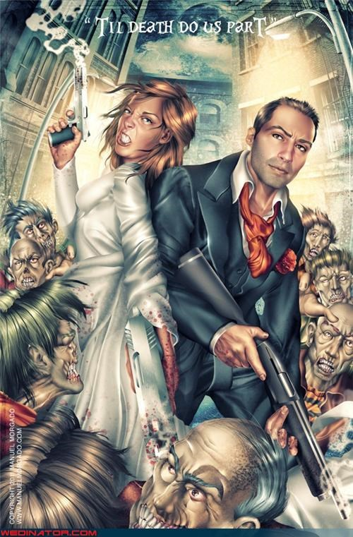 funny wedding photos Wedding Invitation zombie - 4582255616