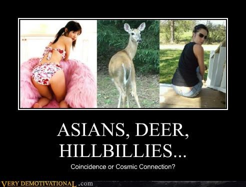 asians,coincidence,connection,deer,hillbillies