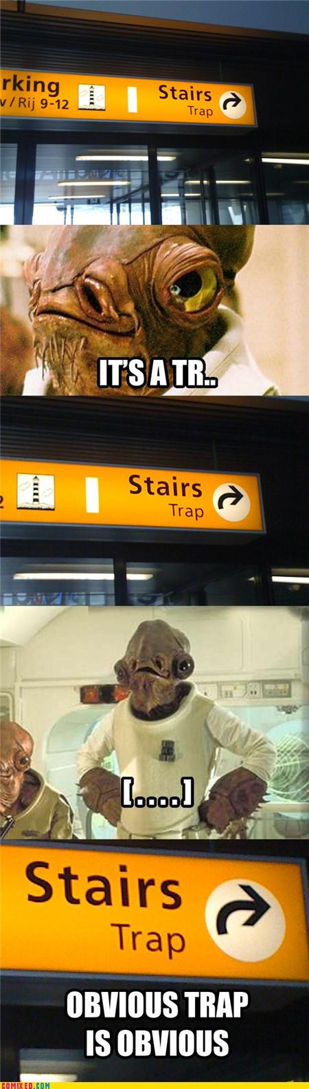 admiral akbar,stairs,star wars,trap