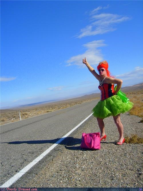 cross dresser hitch hiking no thanks outdoors road scary wig
