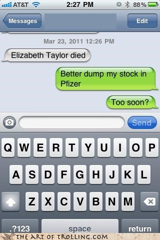 actress,Death,elizabeth taylor,pfizer,pills,text,too soon