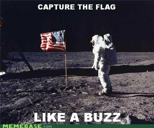 buzz aldrin capture the flag Memes moon landing us flag - 4582493696