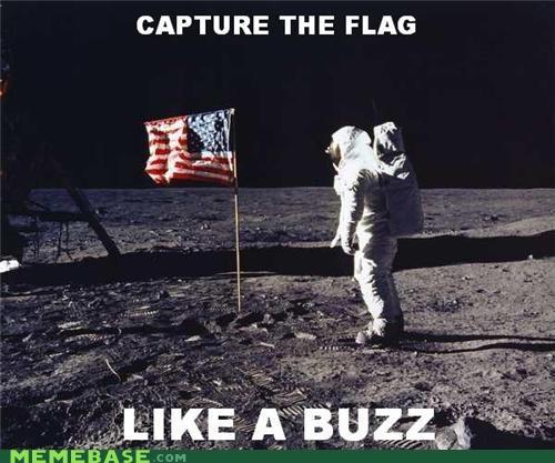 buzz aldrin capture the flag Memes moon landing us flag - 4582493696