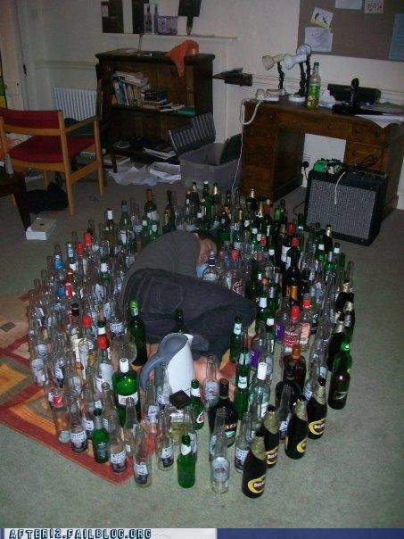 bottles,passed out