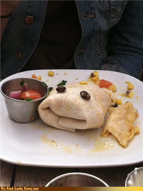 beans burrito eyes face sock puppet