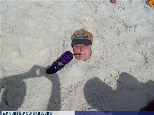 beach buried drink drunk sand