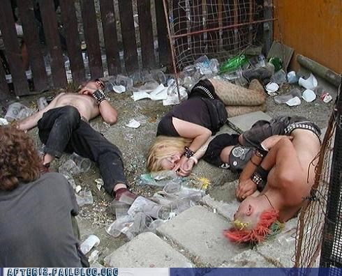 drunk,leather,mohawk,outdoors,passed out,punk,yard