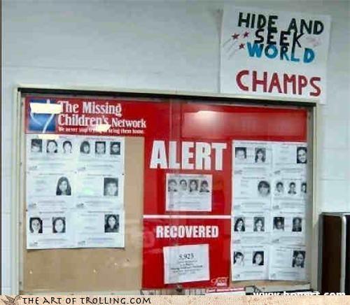 alert champions children hide and seek IRL missing