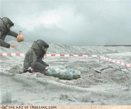 bomb squad desert IRL paper bag pop stress test war