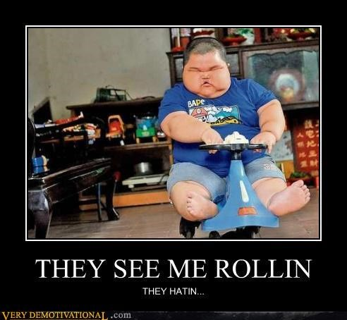 huge large kid rolling