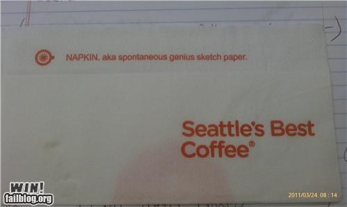 awesome at work,coffee,napkin,seattle,synonym