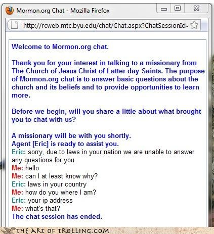 country ip address laws mormon Mormon Chat questions tricks
