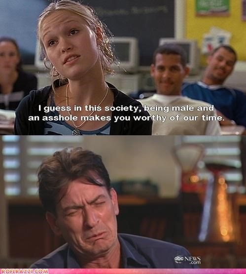 Charlie Sheen funny Hall of Fame julia stiles panel - 4586093824