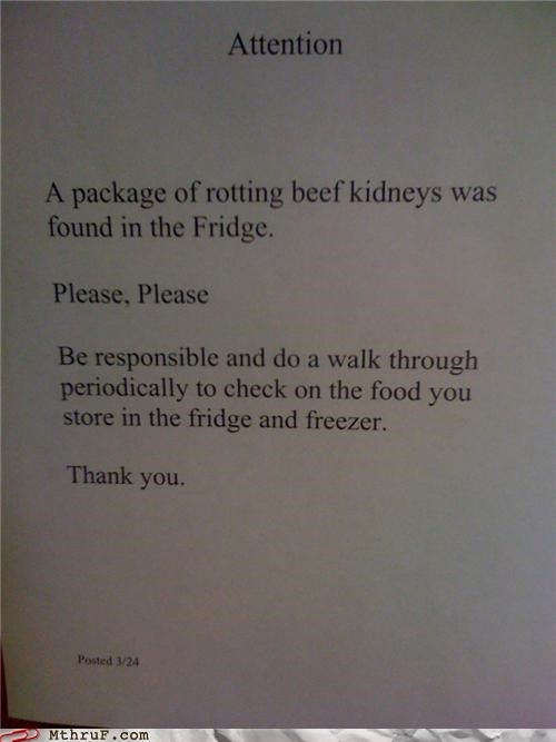 attention Beef freezer fridge kidneys note passive aggressive