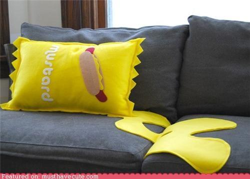 fake mess mustard Pillow spill - 4586315520