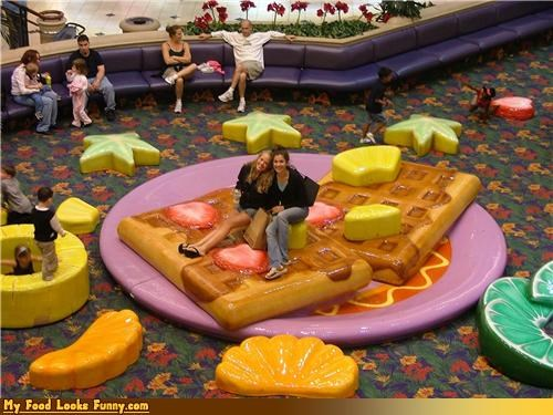 breakfast,giant,mall,playground,sit,waffles