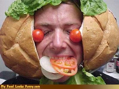 bread head lettuce onions sandwich tomatoes - 4586831104