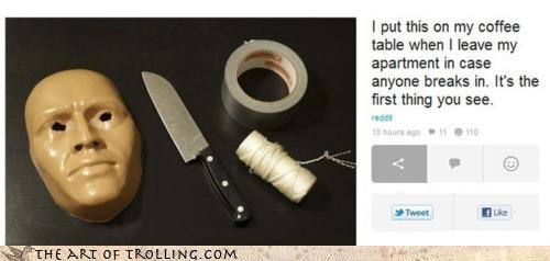 duct tape,IRL,knife,mask,murder,repellant,thief,what the heck