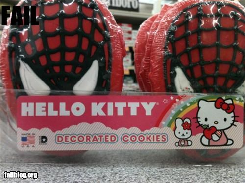 cookies,failboat,food,g rated,hello kitty,snacks,Spider-Man