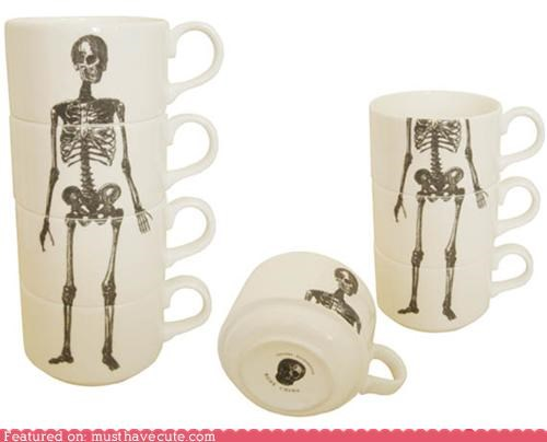 cups kitchen mugs skeleton stacking teacups - 4589058304