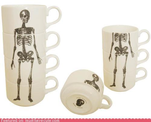 cups kitchen mugs skeleton stacking teacups - 4589058304