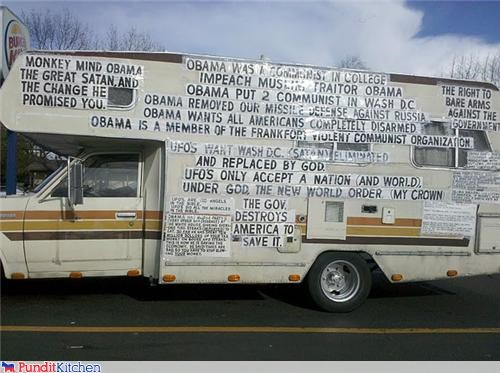 conservatives crazy religion signs tea party vehicles wtf - 4589177600