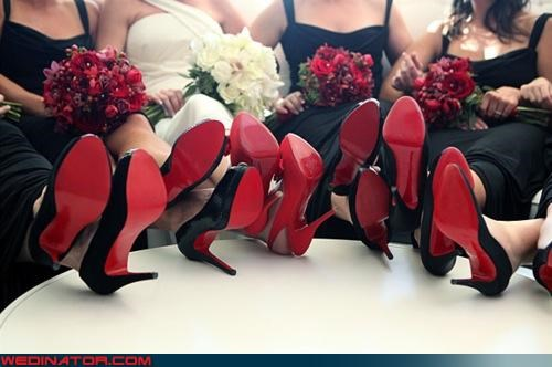 bride bridesmaids funny wedding photos heels shoes - 4589852672