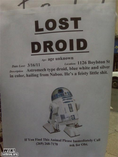 droid Lost Sign nerdgasm r2d2 star wars