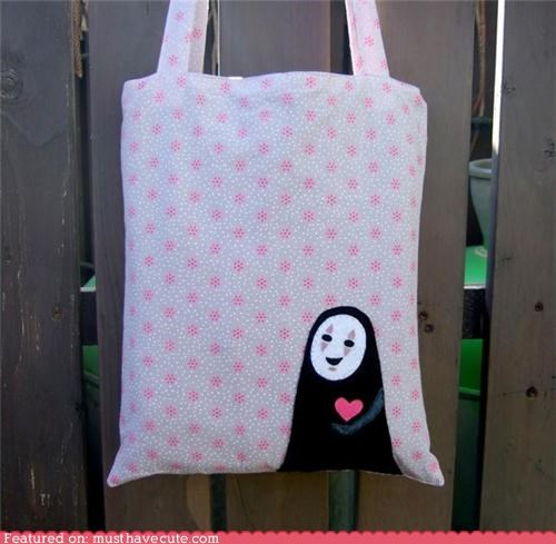 animated character hearts miyazaki Movie spririted away studio ghibli tote bag