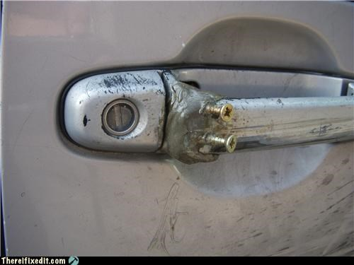 car,car door,door handle,locked up,screws